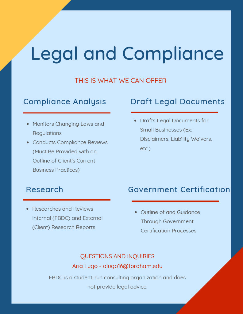 Check out the FBDC's Compliance Menu of Services! Ranging from Compliance Analysis, Drafting of Legal Documents, Research, and Government Certification!